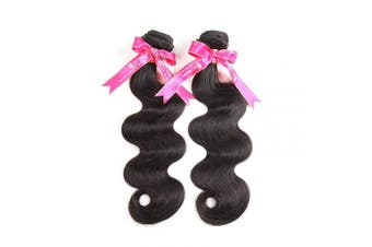 (14 14) - Two Bundles Body Wave Hair Weave 2pcs Ali Pearl Body Wave Virgin Human Hair 2 Bundles Natural Black Hair Extensions (14 14)