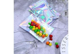 (10cm  x 15cm , Holographic Color) - 100 Pieces Resealable Smell Proof Bags Foil Pouch Bag Flat Ziplock Bag for Party Favour Food Storage (Holographic Colour, 10cm x 15cm )