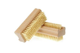 Wooden Two-sided Handle Manicure Pedicure Nail Brush with Natural Pig Bristles