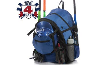 (Blue) - Athletico Advantage Baseball Bag - Baseball Backpack with External Helmet Holder for Baseball, T-Ball & Softball Equipment & Gear for Youth and Adults | Holds Bat, Helmet, Glove, Shoes