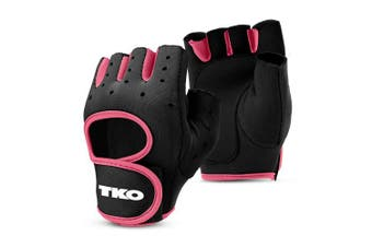 (Large, Black/Pink) - TKO Workout Gloves with Non-Slip Padded Grips - Available with Breathable Mesh