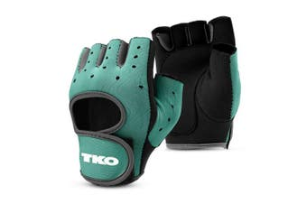 (X-Large, Teal/Grey) - TKO Workout Gloves with Non-Slip Padded Grips - Available with Breathable Mesh