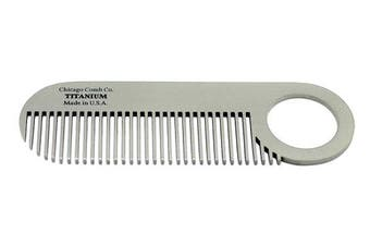 Chicago Comb Model 2 Titanium, Made in USA, Ultimate Daily Use Beard & Moustache comb, Pure American Titanium, Anti-Static, Patented Design, Ultra-Smooth, Strong, Light, 4 in. (10 cm)