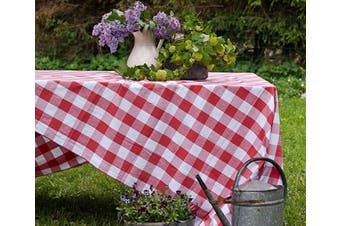 (Table Cloth (160cm  X 320cm ), Checked (Red and White)) - Red and White Checked Tablecloths - Red Buffalo Plaid Tablecloth - Red Plaid Tablecloth - Checked Tablecloths - Red CheckeredTablecloth - (63 X 126), Checked (Red and White)