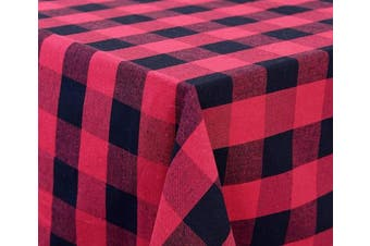 (Table Cloth (160cm  X 320cm ), Checked (Red and Black)) - Buffalo Plaid Table Cloth - Red Chequered Tablecloth - Red and Black Plaid Tablecloth - Plaid Table Cloth - Chequered Table Cloth - Cotton Checked Tablecloth (63 X 126), Checked (Red and Black)