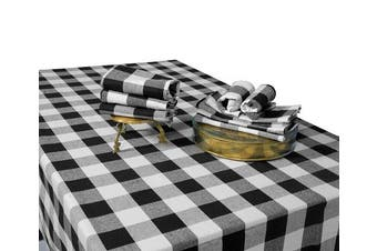 (Table Cloth (160cm  X 280cm ), Checked (White and Black)) - Plaid Tablecloth - Buffalo Plaid Tablecloth Black and White - Black Checker Tablecloth - Buffalo Cheque Tablecloth - Cotton Checked Tablecloth - Chequered Tablecloth Cloth (63 X 109, White and