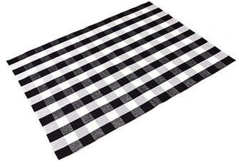 (150cm  x 200cm , Black/White) - Levinis Cotton Washable Rugs Black and White Plaid Rug for Living Room/Bedroom/Dinning Room, 150cm x 200cm