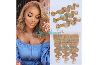 (14+16 18 20) - Aprilhair 8A Pre Plucked Lace Frontal With 3 Bundles #27 Honey Blonde Brazilian Virgin Human Hair Body Wave Ear to Ear 13x4 Lace Frontal Closure (14+16 18 20)