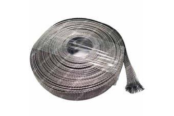 (1.6cm , 25 Feet) - 1.6cm Stainless Steel Braided Sleeving (304SS) - Length: 7.6m