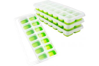 Andier Easy-Release Silicone and Flexible 14-Ice Trays, Stackable Durable and Dishwasher Safe (Green), with Spill-Resistant Removable Lid