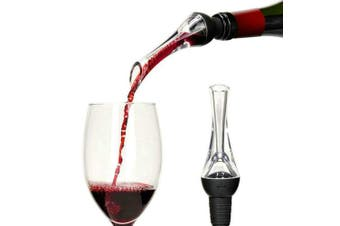 AOGVNA Wine Aerator Pourer, Premium Aerating Pourer and Decanter Spout, Acrylic Wine Decanter Gift For Wine Enthusiasts(Black)