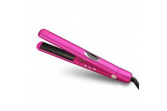 (Rose Red) - 1AsAll Premium 2in1 Flat Iron Hair Straightener With Infrared and Negative Ionic Technology. Display LCD,Adjustable Temperature control,Anti-hot pad include,Easy to carry for Travelling (Rose Red)