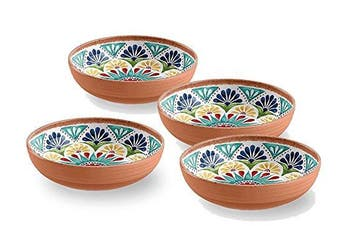 Terracotta Mediterranean Style MELAMINE Picnic / Barbecue / Buffet Outdoor Dining Fruit Salad / Cereal / Soup / Pasta Bowl - Set of 4