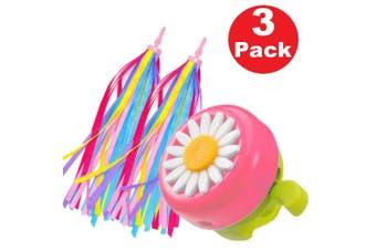 (Pink & Green) - obqo 1 Pack Kids Bike Bell and 2 Pack Kids Bike Streamers for Children's Bike Accessories (Pink, Red, Purple & Blue)