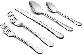 Andier Set Silverware Flatware, Stainless Steel Cutlery Eating Utensils, Mirror Finished, Dishwasher Safe