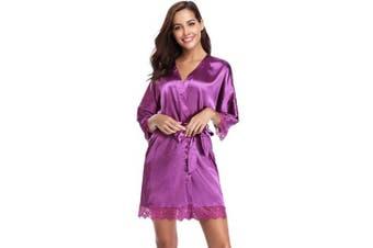 (Purple, L) - Aibrou Womens Robe, Satin Kimono 3/4 Sleeve Plain Nightwear Short Dressing Gown with Lace