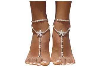 (White) - Bellady 2Pcs Pearl Ankle Chain Barefoot Sandals with Starfish Beach Wedding Foot Jewellery