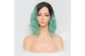 (Black&Light Green) - CHLONG 38cm Wavy Ombre Wigs Dyeing Two Tone Synthetic Hair Anime Costume Cosplay Wig for Ladies - F12