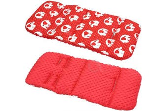 (Red elephants / red) - Reversible Cotton & Minky Pram Insert, Liner Covers 5pt Universal (Red Elephants/red)