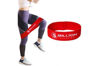 (1.Red-Medium) - 5BILLION Fabric Resistance Bands Hip Exercise Bands - for Booty, Thigh & Glutes - Soft & Non-Slip Design Loop Set