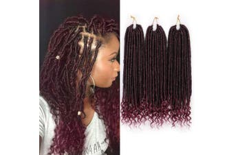 (50cm , 1B/BUG#) - AISI BEAUTY Faux Locs Crochet Hair Goddess Locs Crochet Hair 50cm Pre-Looped Crochet Hair with Curly Ends Synthetic Black Mixed Burgundy Hair Extension for Black Women Braiding (T1B-BUG)