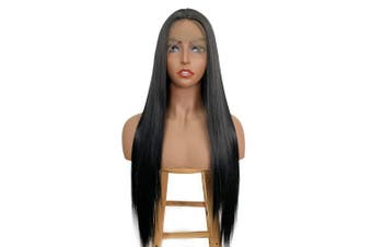 ALICE Lace Front Black Wig for Women, 60cm Long Yaki Straight Middle Part Synthetic Wig, Pre Plucked with Natural Hairline and Baby Hair
