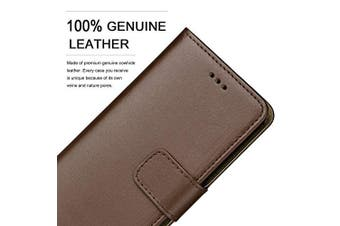 (IPHONE XR, BROWN) - Ameego MK-209 Premium Genuine iPhone XR Real Leather Flip Wallet Magnetic Kickstand Slim Book Case with Card Slot + Free Screen Protector (Brown)