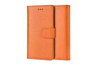 (IPHONE X /XS, ORANGE) - Ameego MK-209 Premium Genuine iPhone X XS Real Leather Flip Wallet Magnetic Kickstand Slim Book Case with Card Slot + Free Screen Protector (Orange)