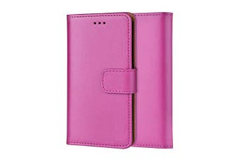 (IPHONE XS Max, HOT PINK) - Ameego MK-209 Premium Genuine iPhone XS Max Real Leather Flip Wallet Magnetic Kickstand Slim Book Case with Card Slot + Free Screen Protector (Hot Pink)