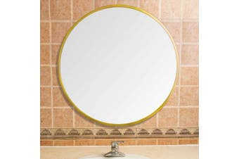 (Gold, 500) - Beauty4U Gold Round Mirrors of Glass 50cm Metal Framed HD Wall Mirror for Vanity, Bathroom or Bedroom (Diameter 19.7 Inch)