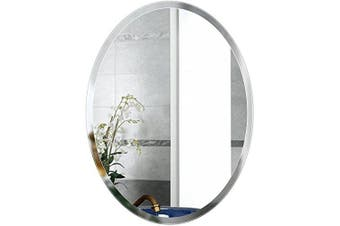 (500*700) - Beauty4U Large Oval Mirror 50x70cm, HD Glass Wall Mirror with Hanging Hooks for Bathroom, Makeup, Dressing and Living Room(20x27Inch)