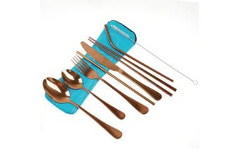 (Rose Gold-Set of 8) - Travel Camping Cutlery Set Reusable Cutlery Set Travel Utensils Set with Straws for Camping Office or School Lunch,Stainless Steel Flatware Set (Rose Gold-Set of 8)