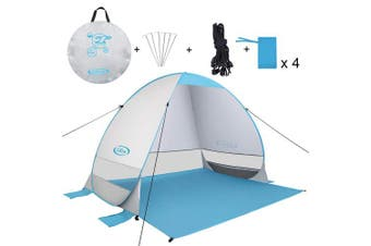 (Extended Cloth-Silver) - G4Free Outdoor Automatic Pop up Instant Portable Cabana Beach Tent 2-3 Person Fishing Anti UV Beach Tent Beach Shelter