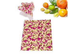 (Red Leaves) - Womdee Beeswax Wrap, Food Wraps Alternative To Plastic Wrap & Cling Film & Silicone Food Covers With Eco Friendly Reusable, Washable & Biodegradable For Storing Vegetable, Bread, Cheese