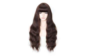 (Long Wavy Wig 06) - COSYCODE 70cm Dark Brown Wavy Wig with Bangs Long Synthetic Wigs Daily Wear