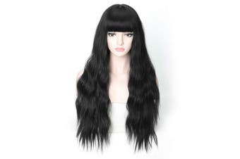 (Long Wavy Wig 05) - COSYCODE 70cm Black Wig with Bangs Long Wavy Synthetic Halloween Party Wigs Glueless