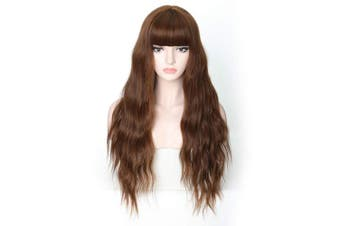 (Long Wavy Wig 07) - COSYCODE 70cm Brown Long Wavy Wig with Bangs Glueless Synthetic Party Halloween Wigs