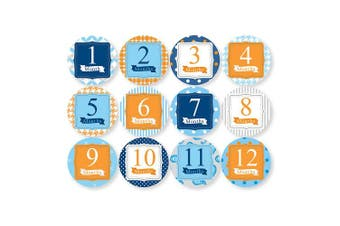 (Blue) - Child to Cherish Baby Monthly Milestone Stickers, Blue