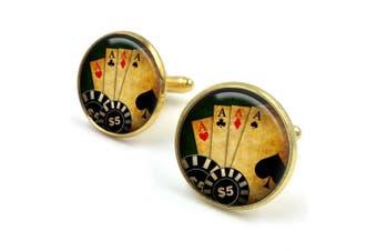 (Gold) - Poker Cufflinks| Cuff links| poker game| gambling poker chips| casino night| gift for him