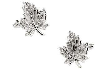 Ashton and Finch Silver Maple Leaf Cufflinks in a Free Luxury Presentation Box. Novelty Canada Tree Theme Jewellery
