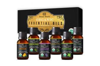 Aromatherapy Essential Oils Set from Botanic Hearth - Certified Organic Essential Oils Set - Lavender, Peppermint, Eucalyptus, Orange, Lemongrass & Tea Tree Oil, Great gift Set - 6-10 ml each