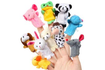 Acekid Baby Finger Puppets, 10pcs Kids Plush Animal Hand Puppets Set, Velvet Story Time Props Dolls Toys for Toddlers