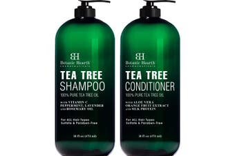 Botanic Hearth Tea Tree Shampoo and Conditioner Set - with 100% Pure Tea Tree Oil, for Itchy and Dry Scalp, Sulphate Free, Paraben Free - for Men and Women - 470ml each