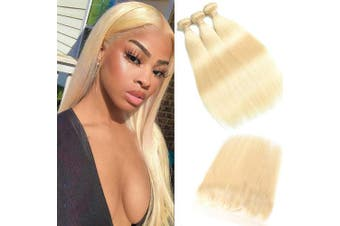 (202224+46cm , bundles with frontal) - 613 Blonde Malaysian Straight Hair Bundles With Frontal 613 Platinum Blonde Human Hair 3 Bundles With Lace Frontal Remy Extension Can Be Dyed (20 22 24+46cm frontal, 613)