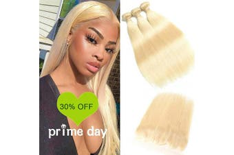 (10/12/14+25cm , bundles with frontal) - 613 Blonde Malaysian Straight Hair Bundles With Frontal 613 Platinum Blonde Human Hair 3 Bundles With Lace Frontal Remy Extension Can Be Dyed (101214+25cm , bundles with frontal)