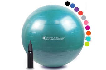(45 cm, Turquoise) - Exercise Ball for Yoga, Balance, Stability from SmarterLife - Fitness, Pilates, Birthing, Therapy, Office Ball Chair, Classroom Flexible Seating - Anti Burst, No Slip, Workout Guide