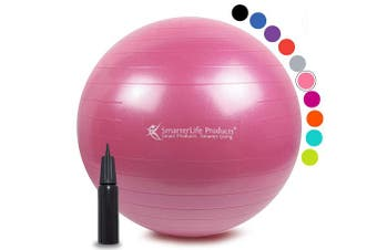 (45 cm, Pink) - Exercise Ball for Yoga, Balance, Stability from SmarterLife - Fitness, Pilates, Birthing, Therapy, Office Ball Chair, Classroom Flexible Seating - Anti Burst, No Slip, Workout Guide