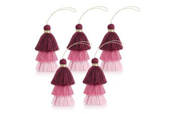(5pcs pink) - Beautyflier5Pcs 3 Layers Tri-Colours Cotton Thread Tassels with Silver Hang Loop Chinese Knot Tassels for DIY Jewellery Making Bookmark Gift Tag Keychain (5pcs Pink)