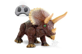 Discovery Kids RC Triceratops, LED Infrared Remote Control Dinosaur, Built-in Speakers W/ Digital Sound Effects, 22cm Long, Includes Glowing Eyes, Life-Like Motion, A Great Toy for Girls/Boy