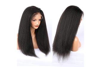 (30cm , Lace Front Wig) - ALYSSA Thick Kinky Straight Lace Front Wig Pre Plucked 150% Density Coarse Yaki Human Hair Wigs For Woman 30cm Natural Black